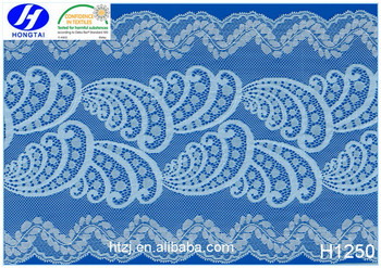 Hongtai factory 20cm spandex lace trim fabric dubai for clothes decoration