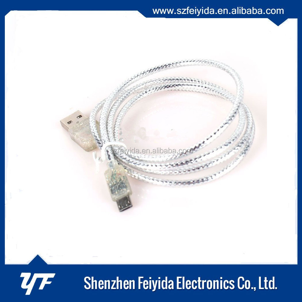 2016 New product fast micro transparent PE usb cable for cellphone