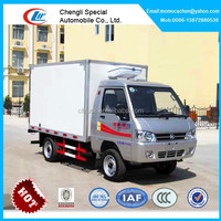 Mini 1-2tons refrigerator truck with gasoline engine,kama refrigerator van box truck for sale