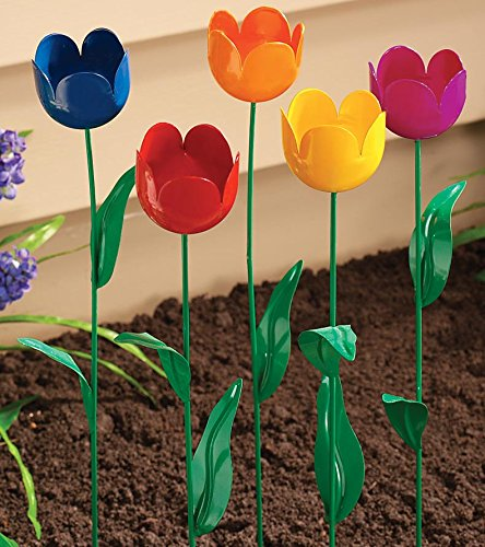 home garden metal Artificial Tulips tulip lawn garden plant stake yard ornaments flower art tulip stakes decoration