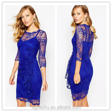 Round Dress In soft-touch Lace With Ruffle High quality clothing brands women