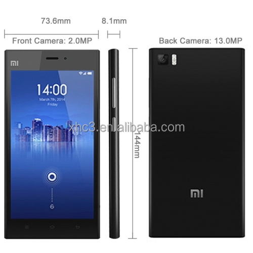 Wholesale Xiaomi Mi3 16GB Black, 5.0 inch 3G Android MIUI V5 Smart Phone, Qualcomm Snapdragon 800 8274AB 2.3GHz Quad Core