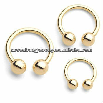 gold CBR captive bead ring earrings lip rings with two balls in the top hot and beautiful body piercing jewelry
