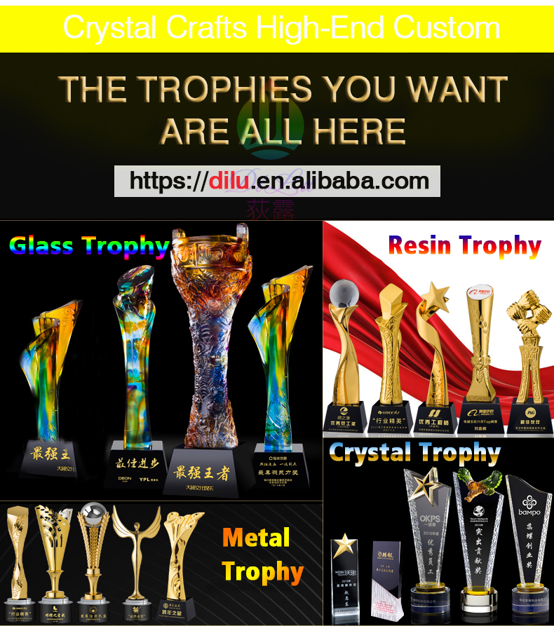 Pujiang Jinghua Customized iceberg Wolf head Animal trophies crystal trophy medals and Awards