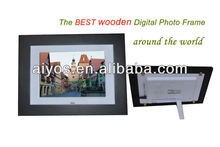 "Hot sale 8"" Wooden Digital Photo Frames,super slim ,high-Brightness screen,Movie/Music, calender and alarm,cheap price!"