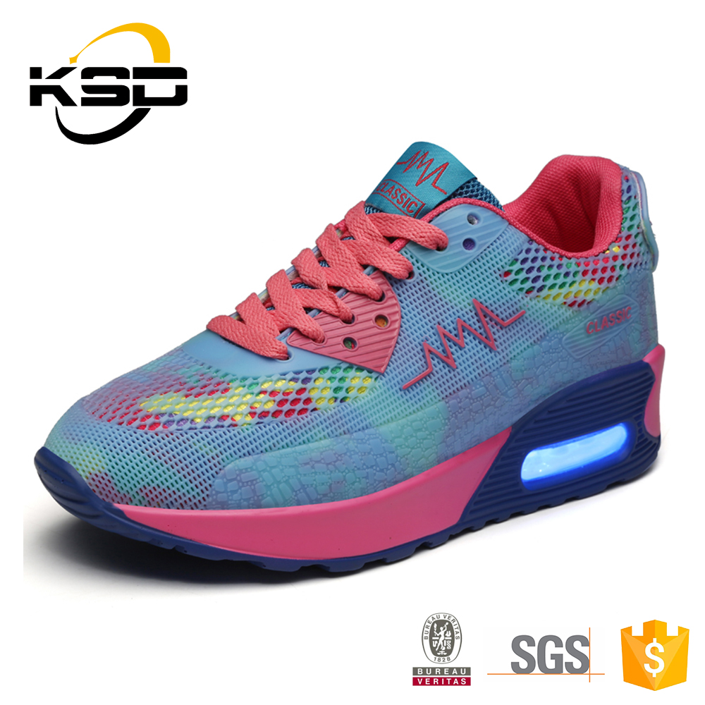 Dynamic Colorful Mesh Surface Ventilation Light Step Classic Night Light Shoes