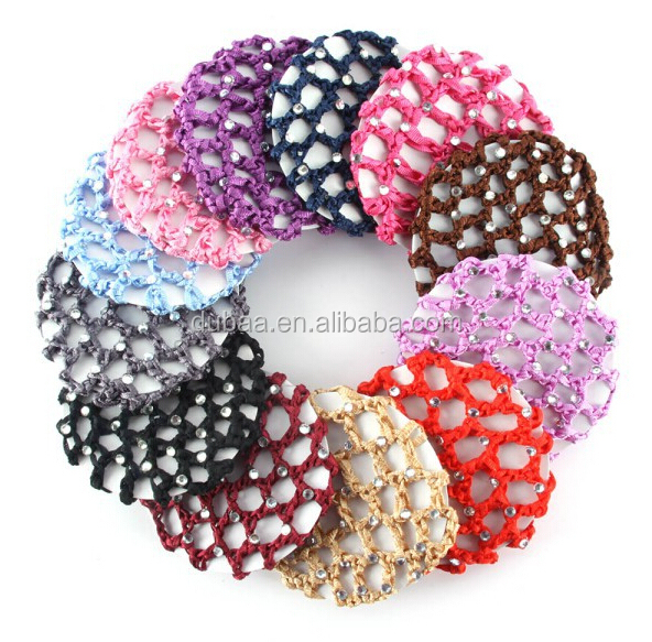 Small Size Diamante Crocheted Hair Bun Net Hair Holder Cover with Stones Ballet Dancing Skating Hair Decor Snood Cap for Child
