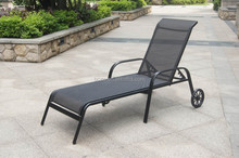 Black Alu. Mesh Outdoor Sun Loungers/Cheap garden metal chaise lounge