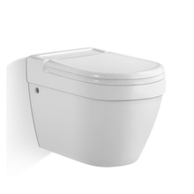 Wall hung ceramic toilet p-trap 180mm slown down wc pan with concealed cistern gravity flushing