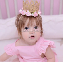 Wholesale new design lace crown stylish baby girl <strong>headbands</strong> for princess
