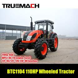BTC1104 110hp 4wd farm wheeled tractor with EuroIII Engine
