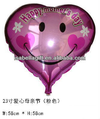smile face happy mother's day heart shape printed helium foil balloon with laciness,aluminium foil balloon