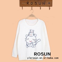 Cute cats pattern pullover sweater for young girls in pure white