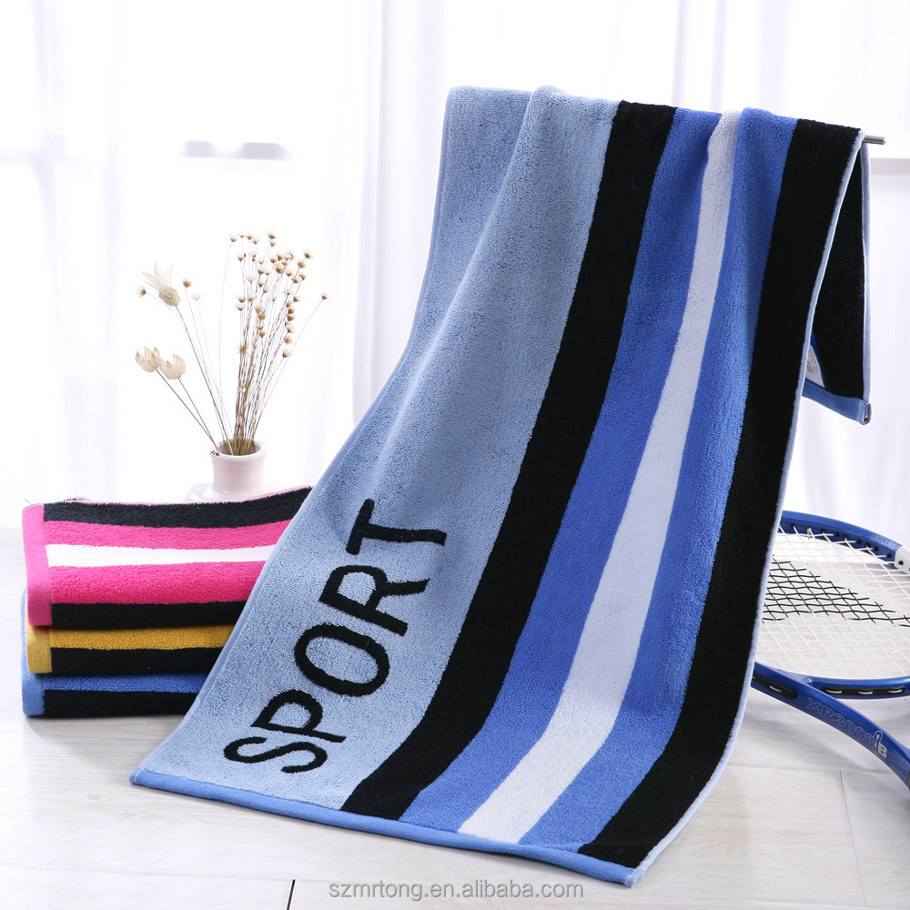 Jacquard beach towel cotton terry yarn dyed sport towel