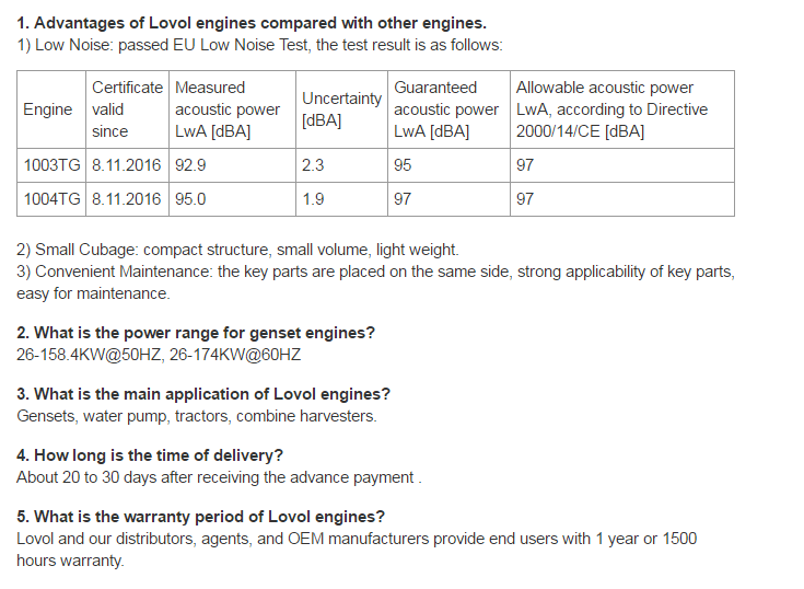 LOVOL diesel engine for Water-pumping set-1000 series