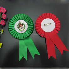 Hot sell Printable Award Ribbon rosette with Safety Clip