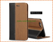 New Wood Grain Flip Wallet Leather Case Cover For iPhone 6 With credit Card Slot