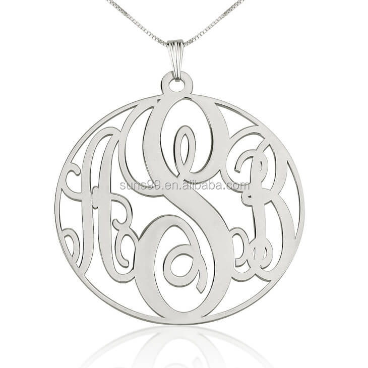 Custom Name Nacklace Monogram New Design Stainless Steel Circle Monogram Necklace