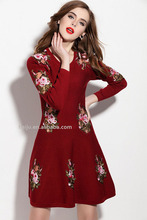 European embroidered softextile fashion fat size women party dress