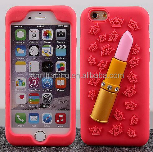 2016 New! Bling Diamonds Soft Silicone 3D Lipstick Phone Case For iPhone 6plus /6splus