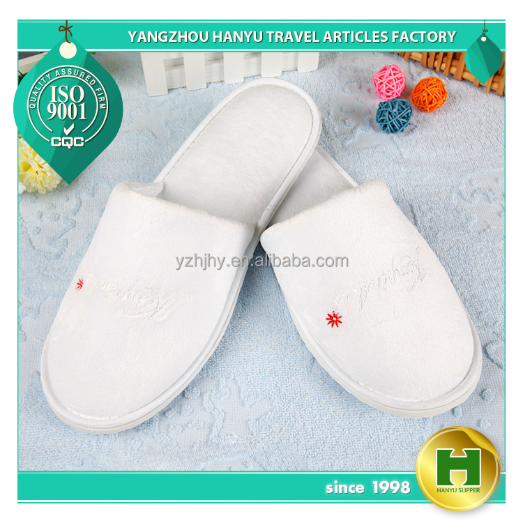 Imitated Velveteen Hotel Slippers / White Disposable Imitated Cotton Women's Slippers / Washable Comfortable EVA Salon Slippers