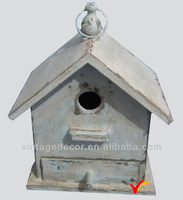 hanging ornamental antique rustic painted bird house