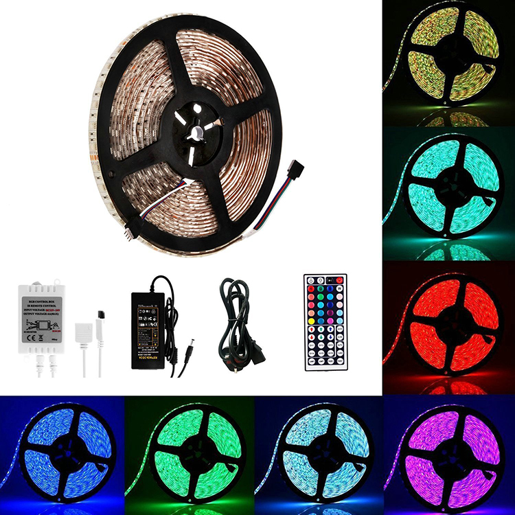 TV home christmas decorative 12v 5m 5050 smd 300LEDs flex waterproof rgb led strip light with 44 keys remote controller DC power