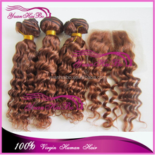 Wholesale price! 7a quality 33# malaysian remy hair deep curly virgin human hair weft with swiss lace closure