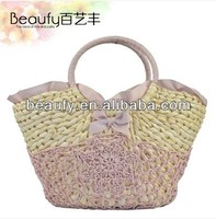 Paper Straw Crochet Bottom Natural Maize Straw Bag With Bow
