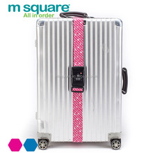 M square polyester TSA lock travel printing logo luggage belt with lock scale