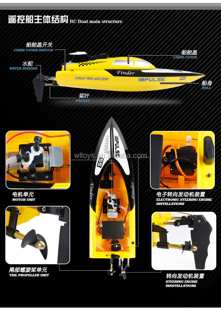 WL Toys WL912 new 2.4G 2 channel radio control rc speed racing boat