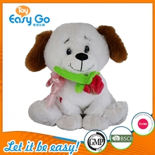 Stuffed Plush White Sitting Dog Toy With Rose In Mouth