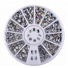 Mixed Design White AB Snow Flake Star Shape <strong>Flat</strong> Back Nail Art Acrylic Rhinestone With Wheel Box