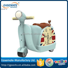 Multi-function scooter luggage plastic suitcase car with wheel for kids