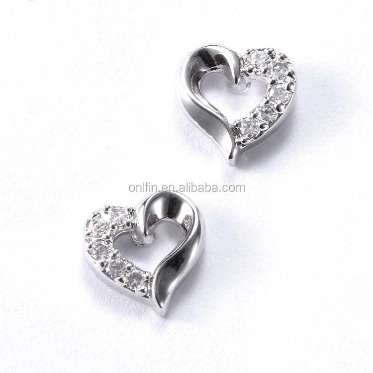Wholesale Silver Jewelry Silver Heart Post Earring Left & Right Side