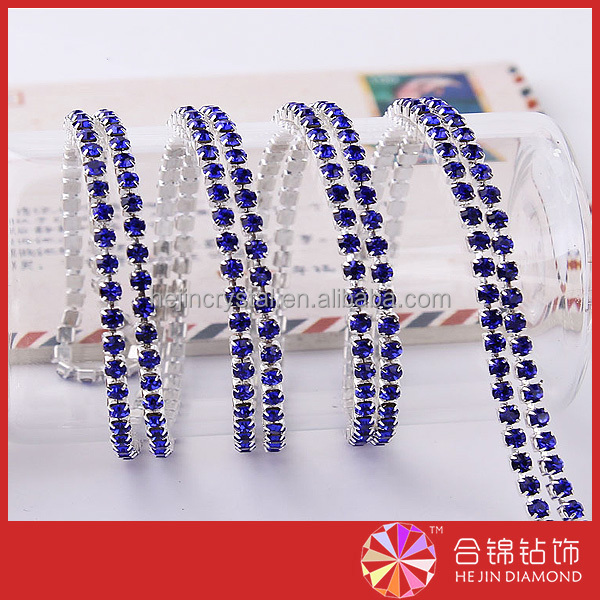 2mm rhinestone cup chain sapphire chaton cup chain trimming for soldering