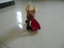 animated brown stuffed plush christmas deer with red scarf