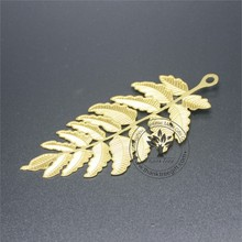 brass material and chemical etching maple leaf engraved gold plated bookmarks