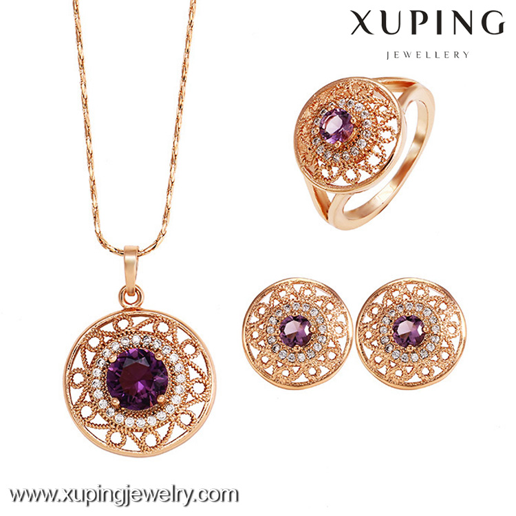 62412 Rose Color Crystal Bridesmaid Clear Necklace Earrings Colorful Zircon Wedding Jewelry Set