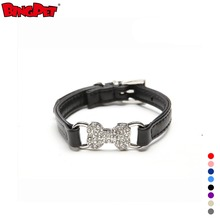 High Quality Crystal Bone Charm Design PU Leather Dog Collar
