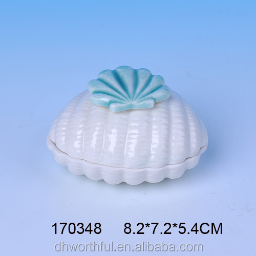 Decorative shell shaped ceramic unique jewelry gift boxes