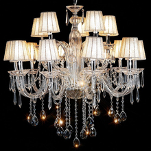 XingJun residential Retro crystal chandelier Pendant Ceiling Light Hotel project fabric lamp