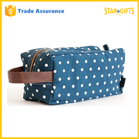 China Supplier Custom Travel Polka Dots Jean Denim Cosmetic Bag With Gold Zipper