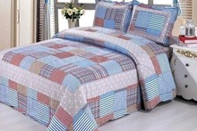 grey red and blue white color patchwork microfiber fabric printed quilts