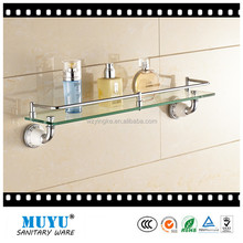 2015 New design wall mounted bathroom corner single tier glass shelf