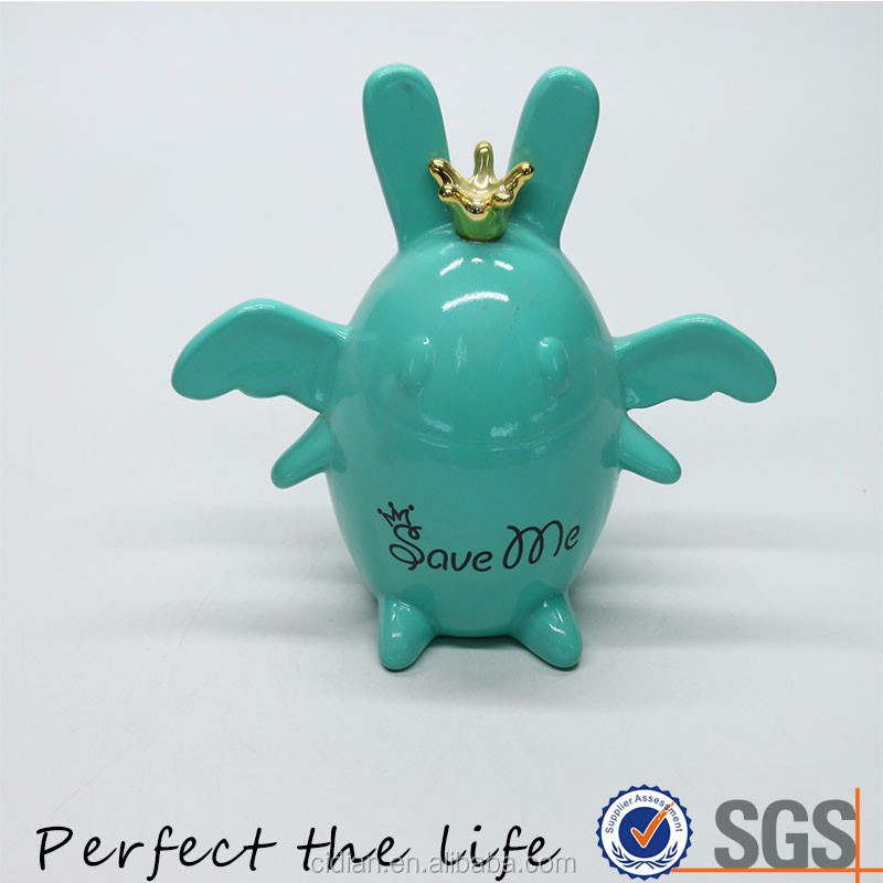 Several Colors lovely Cartoon Image Golden Crown Ceramic Piggy Bank Money Box for Children