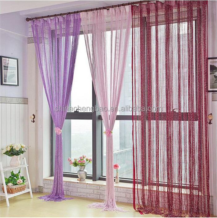 polyester window fiber string magnets curtain