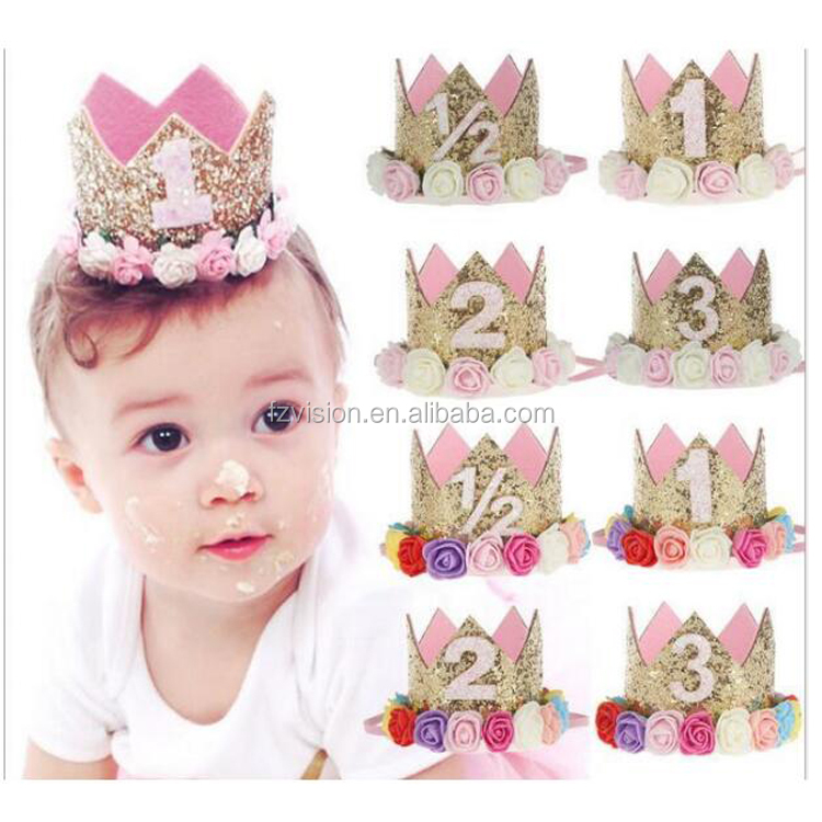 Soft EVA Flower Baby Birthday Crown Headpiece with Number
