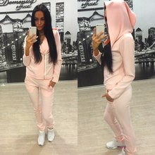 ZH0097G Womens 2Pcs Hoodies Shirt Pants Set Casual Tracksuit Jogging Gym Sportswear