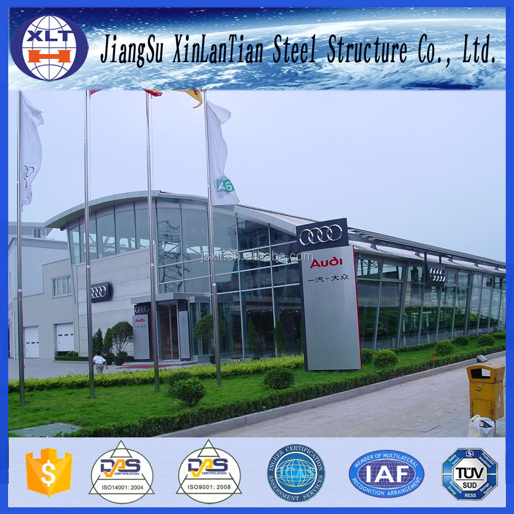 Light steel structure 4S car exhibition hall building with CE certificate
